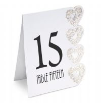 White Heart Laser Cut Design Wedding Table Numbers 1-15